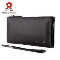 梦特娇Montagut 新款男士真皮手拿包 细腻小头层牛皮软皮手包单拉链钱包