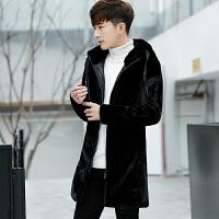 男士中长款冬季连帽皮毛一体皮衣新款青年韩版帅气修身外套潮 黑色