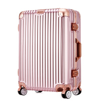 七夕礼物行李箱铝框拉杆箱万向轮旅行箱20寸28寸男女登机箱密码箱 豪华版镜面铝框箱#玫瑰金 28寸大容量