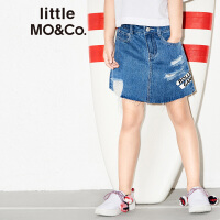 【折后价:63.6】littlemoco女童时髦刺绣破洞牛仔半身裙KA172SKT405