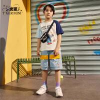 【2件3折:55.5元】小虎宝儿男童短裤纯棉2021夏季新款儿童外穿运动五分裤中大童装薄