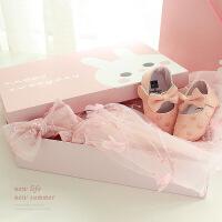 新生儿婴儿礼盒公主裙套装夏季纯棉送女宝宝满月礼物周岁礼服礼物 粉红色