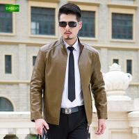 逸纯印品(EASZin)2016新款修皮夹克潮男士茄克衫立领款皮衣外套
