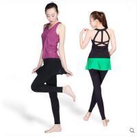 美背时尚背心撞色拼接瑜伽服带裙摆套装健身房速干运动两件套含胸垫