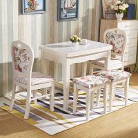 简约现代钢化玻璃可折叠餐桌伸缩桌组合白色实木小户型简易饭桌子