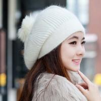 女士韩版可爱秋冬天兔毛帽子 韩针织保暖帽 冬季毛线帽保暖护耳
