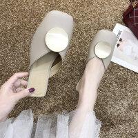 韩版女士简约包头半拖鞋 新款女粗跟穆勒鞋 时尚百搭圆片单鞋女外穿