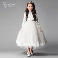 2017新款小立领蕾丝裙摆中长款公主裙长袖礼服裙表演裙