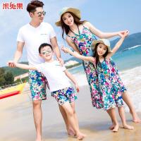 沙滩海边亲子装夏季母女连衣裙 全家装套装海岛旅游