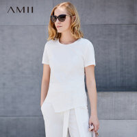 Amii 极简ins休闲chic港味T恤上衣2018春
