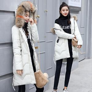 Freefeel 2018冬季新款羽绒棉服女中长款时尚休闲连帽毛领大衣BSSY1821