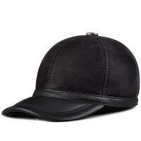 男士真皮帽皮毛一体棒球帽牛皮中老年护耳保暖