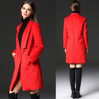 毛呢外套女秋冬新款羊毛呢大衣女款斜插袋修身呢子大衣