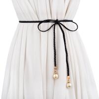 新品韩版时尚女士编织细腰带 百搭流苏装饰腰绳 甜美打结裙带腰链