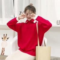 秋冬女装韩版百搭圣诞风POLO领宽松毛衣针织衫女学生打底衫上衣