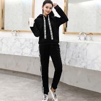 卫衣女加绒金丝绒加绒加厚保暖休闲运动卫衣套装女冬装时尚2018新款两件套 黑色 加绒显瘦