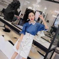 套装女夏韩版新款小清新洋气刺绣领口牛仔上衣+单排扣牛仔短裙潮 图片色