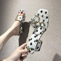 新款波点水钻女士拖鞋 时尚透明一字露趾凉拖鞋女 韩版粗跟毛毛拖鞋女