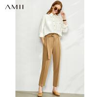 【到手价:140元】Amii极简复古港风纯棉衬衫2020春新款宽松中长款工装男友风衬衣女