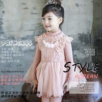 韩版秋冬款女童加厚加绒长袖连衣裙儿童毛毛珍珠网纱公主裙冬裙子