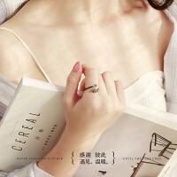 侣对戒男女银开口戒指一对个性简约日韩
