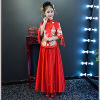 儿童旗袍新年秀禾喜庆宝宝唐装冬女童旗袍裙花童礼服刺绣礼服长 红色