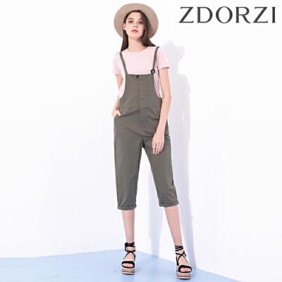 ZDORZI卓多姿夏装新款百搭显瘦纯色背带裤女734119