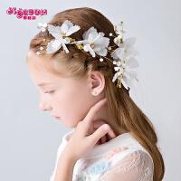 礼服演出配饰女童发饰发卡 儿童头饰儿童头花饰品发夹花朵白色花童