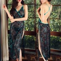 性感可爱小胸透明蕾丝旗袍薄纱公主长裙裙女仆透明套装 孔雀绿长旗袍 均码
