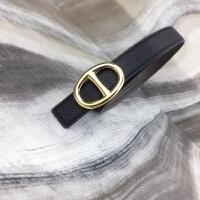 新款潮流百搭纯牛皮个性腰带女真皮平滑扣圆环简约时尚皮带 黑色 95cm