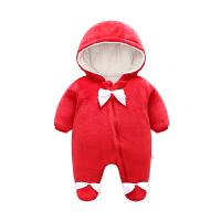 女婴儿连体衣冬季加厚宝宝抱衣服秋冬装新生儿棉衣