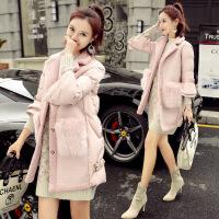 冬装新款纯色甜美韩版外套女士中长款加厚修身棉衣冬装