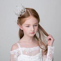 儿童礼服配饰 儿童皇冠头饰 女童公主发饰水钻王冠 花童圆皇冠 银色