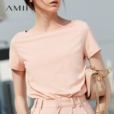 Amii莫代尔一字领t恤短袖女夏装2018新白色修身百搭小心机上衣.0