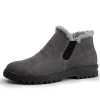 雪地靴男士短靴加厚防水高帮男鞋皮毛一体保暖加绒棉鞋男冬季