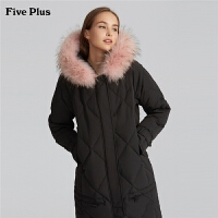 Five Plus女装貉子毛领羽绒服大衣女中长款连帽外套长袖宽松