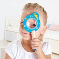 Hape太空历险放大镜3-6岁蓝色儿童木质卡通放大镜科学探索益智玩具E8398