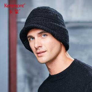 卡蒙冬季加厚加绒毛线帽护耳男户外保暖针织帽黑色百搭秋天鸭舌帽9138