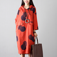 实拍秋装新款韩版大码女装连帽中长款连衣裙长袖裙子宽松