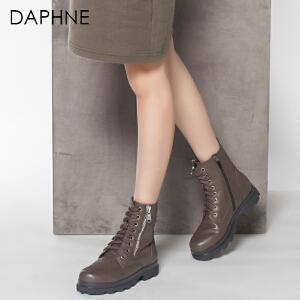 Daphne/达芙妮冬季靴子女系带圆头粗低跟休闲马丁靴