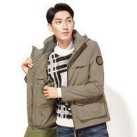 男士四合一摄影夹克 秋冬新款冲锋衣两件套夹克外套 浅卡其色