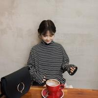 韩观春夏季女装韩版宽松百搭高领长袖条纹套头t恤显瘦打底衫简约上衣 图片色 均码