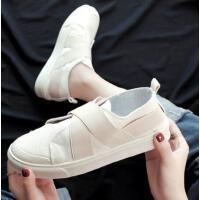 帆布鞋女新款学生韩版小白鞋平底一脚蹬女鞋休闲运动时尚懒人鞋子