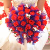 结婚庆用品浪漫婚礼36头仿真玫瑰花新娘手捧花绢花手抛花 仿真玫瑰手捧花