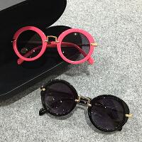 儿童太阳镜小孩墨镜宝宝眼镜圆框金属蛤蟆镜男女童遮阳镜
