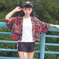 2018春秋韩版复古日系和服设计感百搭花朵开衫披肩式短外套学生女