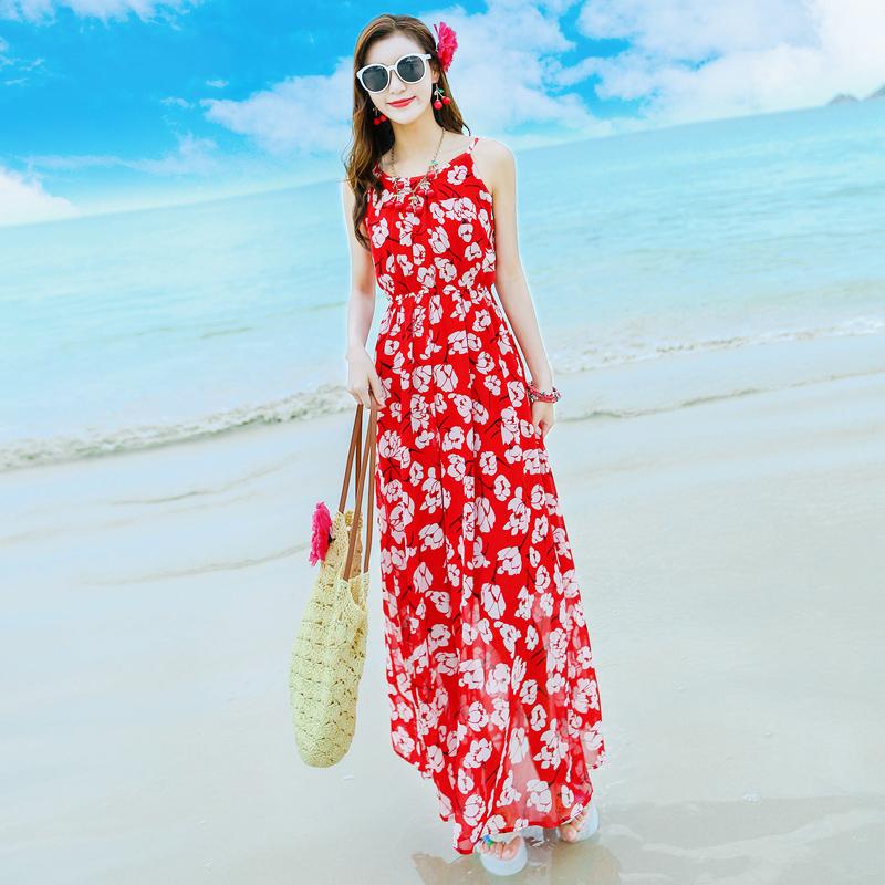夏季新款花朵印花吊带雪纺连衣裙波西米亚长裙海滩度假沙滩裙 花色 发货周期:一般在付款后2-90天左右发货,具体发货时间请以与客服协商的时间为准