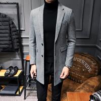 毛呢大衣男中长款青年韩版2017新款冬季修身加厚英伦风毛呢外套男