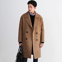 冬季妮子大衣男中长款韩版宽松呢子风衣潮流青年毛呢大衣外套加厚