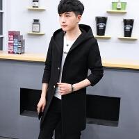 毛呢大衣男中长款韩版加厚学生连帽风衣青年加绒保暖修身呢子外套